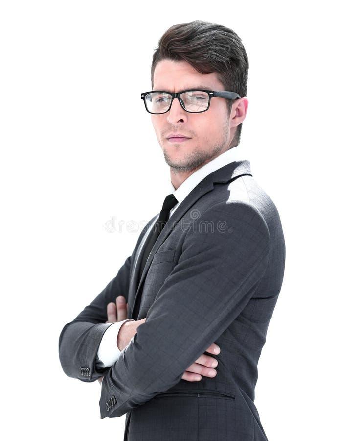 Vista lateral Retrato de um homem de negócios novo confiável fotos de stock royalty free
