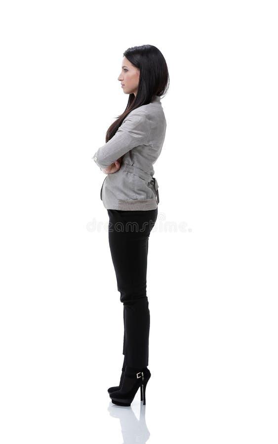 Vista lateral Retrato de uma jovem mulher moderna foto de stock