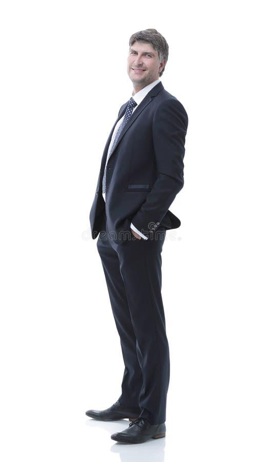 Vista lateral Retrato do homem de negócios bem sucedido fotos de stock