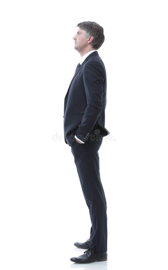 Vista lateral Retrato do homem de negócios sério foto de stock royalty free