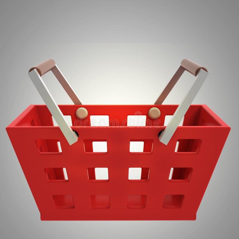 Vista lateral roja de la cesta de compras sobre gris stock de ilustración