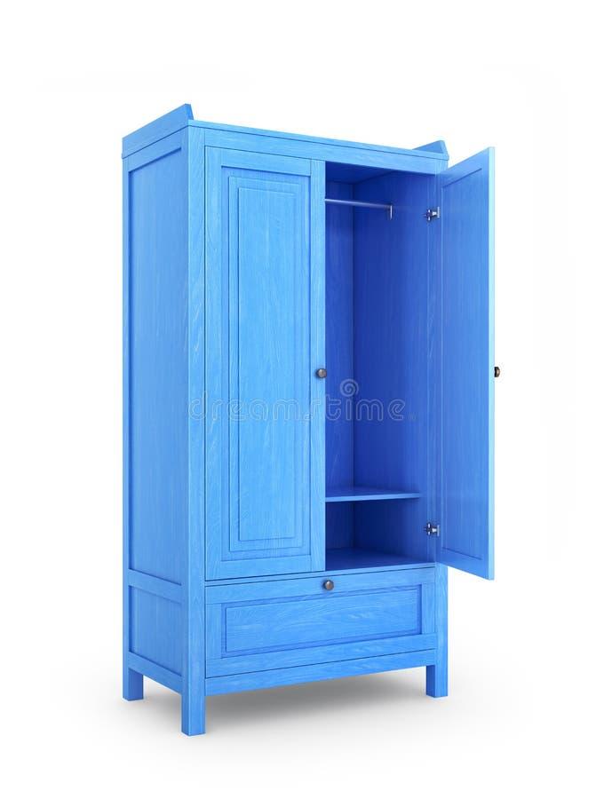Vista lateral sobre el gabinete de madera con la puerta abierta libre illustration