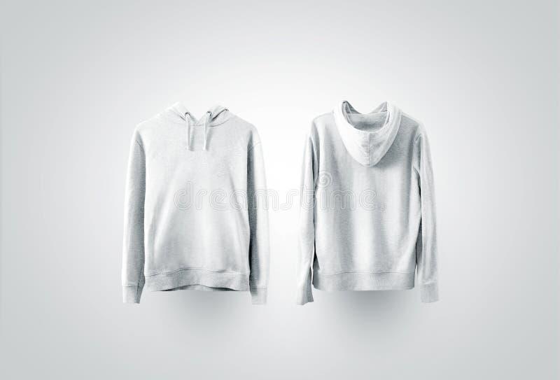 Vista laterale anteriore e posteriore bianca in bianco dell'insieme del modello della maglietta felpata, immagine stock libera da diritti