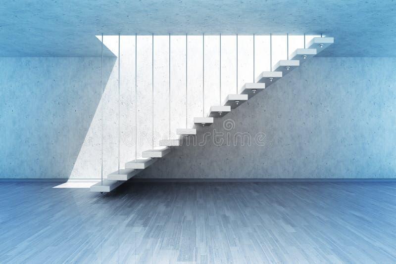 Vista laterale appesa della scala nella scena blu di luce for Case del seminterrato di luce del giorno