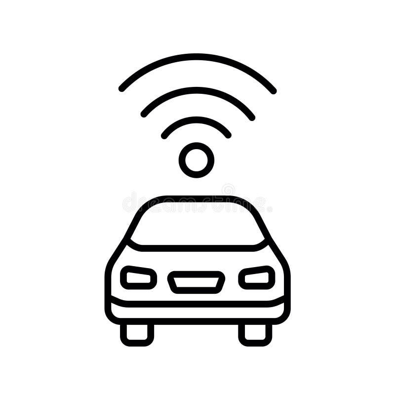 Vista laterale auto-movente autonoma dell'automobile driverless del veicolo con l'icona piana del radar illustrazione vettoriale