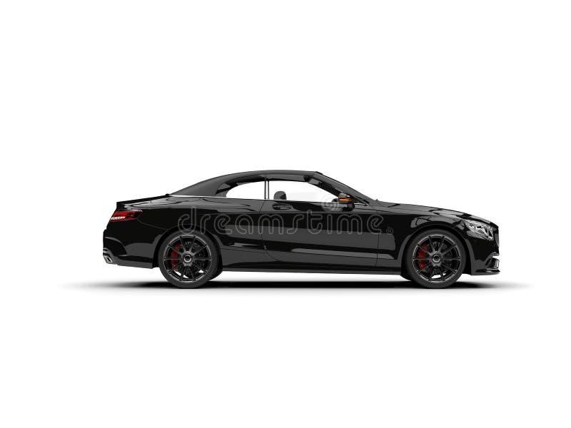 Vista laterale automobilistica convertibile di lusso moderna nera torva illustrazione di stock