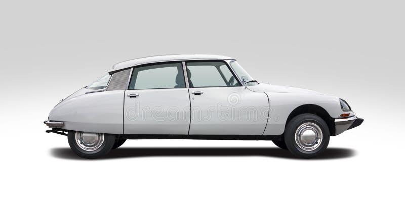 Vista laterale classica di Citroen DS isolata su fondo bianco fotografia stock libera da diritti
