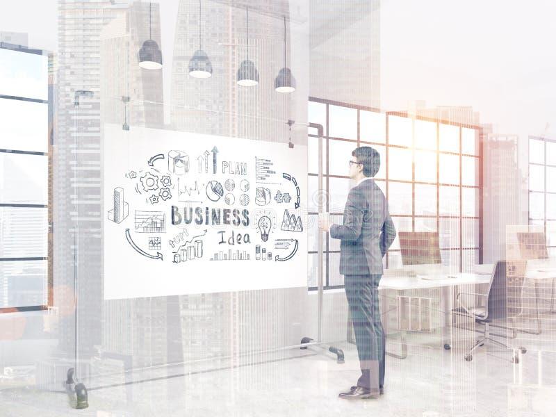Vista laterale dei vetri d'uso di un uomo d'affari Sta tenendo una tazza di caffè e sta esaminando un manifesto di idea di affari royalty illustrazione gratis