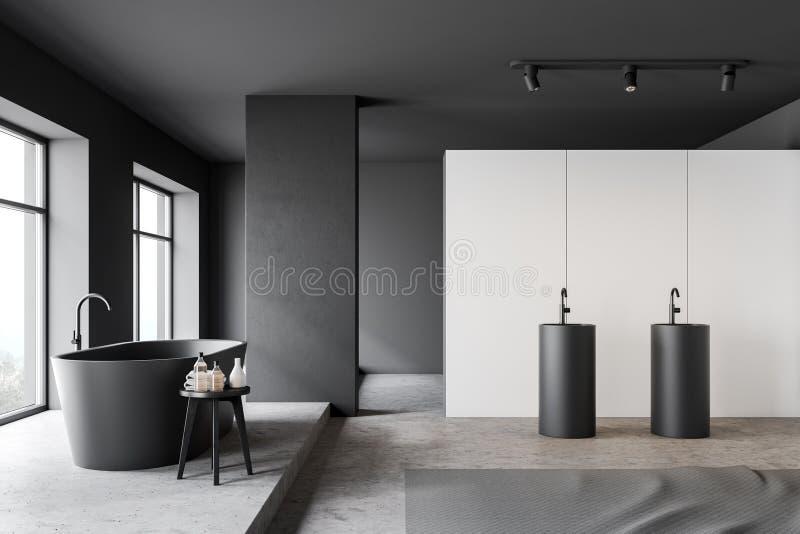 Vista laterale del bagno bianco e grigio illustrazione vettoriale