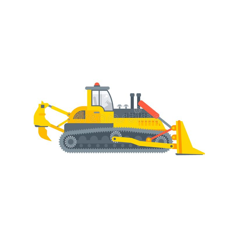Vista laterale del bulldozer del trattore a cingoli o del cingolo royalty illustrazione gratis