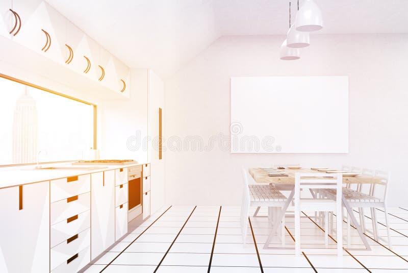 Vista laterale del contatore di cucina a New York illustrazione di stock