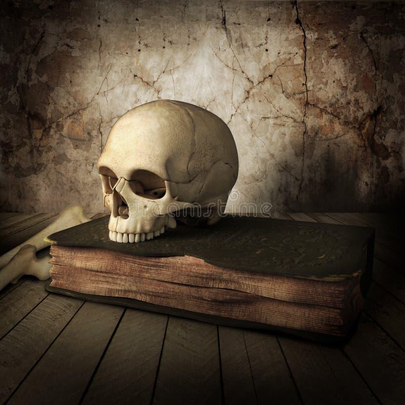 Vista laterale del cranio antico con il libro illustrazione vettoriale