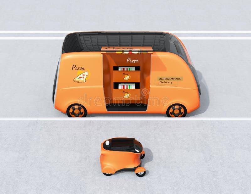Vista laterale del furgone e del fuco di consegna auto-moventi della pizza nella via immagine stock