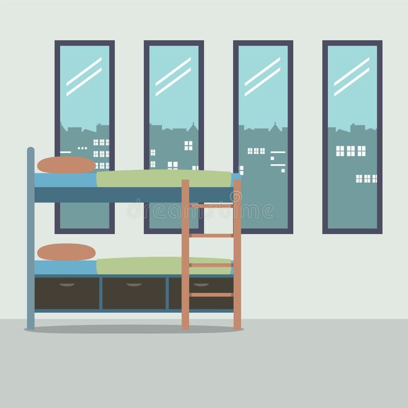 Vista laterale del letto di cuccetta con quattro vetri Windows illustrazione vettoriale