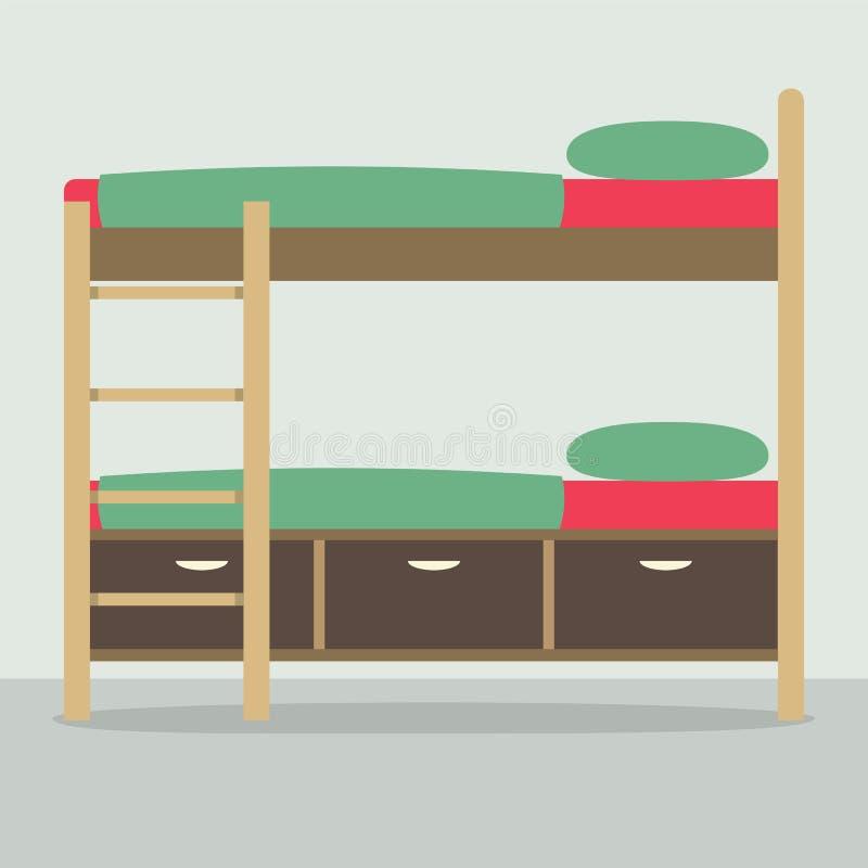 Vista laterale del letto di cuccetta sul pavimento illustrazione di stock