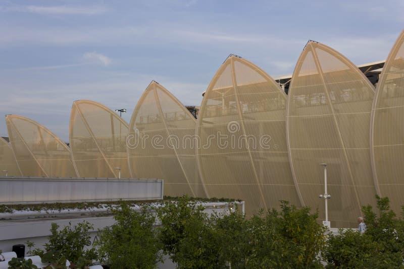 Vista laterale del padiglione messicano all'Expo 2015 immagine stock