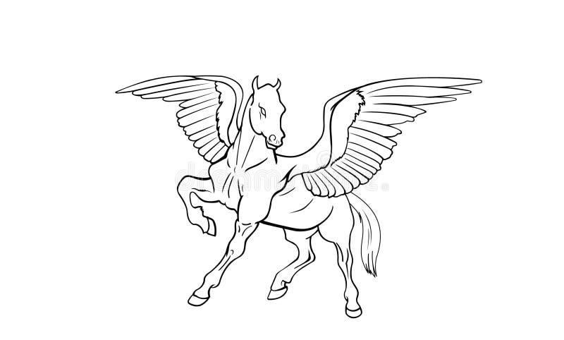 Vista laterale del Pegasus royalty illustrazione gratis