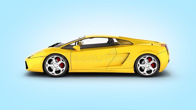 Vista laterale del veicolo dell'automobile sportiva sul fondo blu 3d di pendenza illustrazione vettoriale