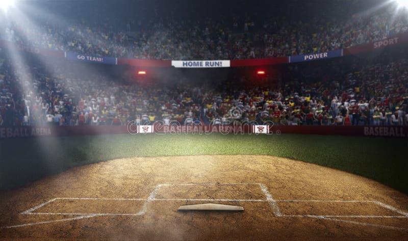 Vista laterale dell'arena di baseball professionale alle luci immagini stock