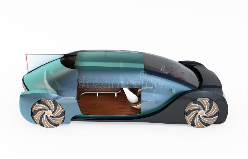 Vista laterale dell'auto trasparente che conduce automobile elettrica isolata su fondo bianco fotografia stock