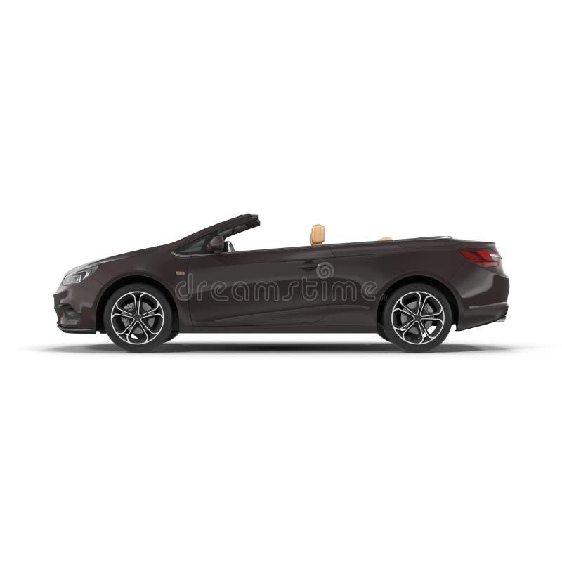 Vista laterale dell'automobile convertibile isolata su un bianco illustrazione 3D illustrazione di stock