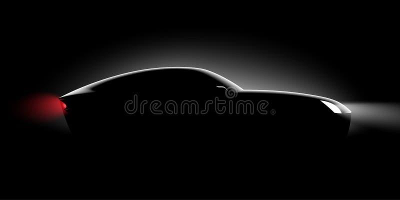 Vista laterale dell'automobile realistica nello scuro illustrazione vettoriale