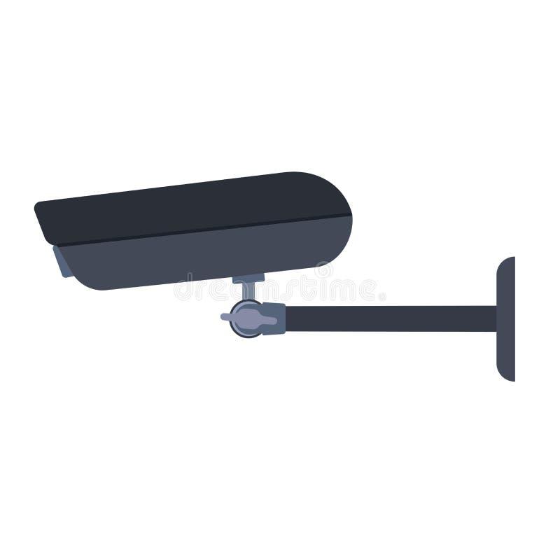 Vista laterale dell'icona di vettore di simbolo della macchina fotografica del CCTV Controllo di sicurezza del sistema di crimine illustrazione di stock