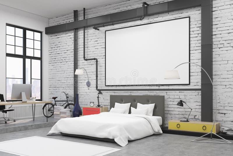 Vista laterale dell'interno della camera da letto con le pareti bianche e un manifesto su loro illustrazione vettoriale