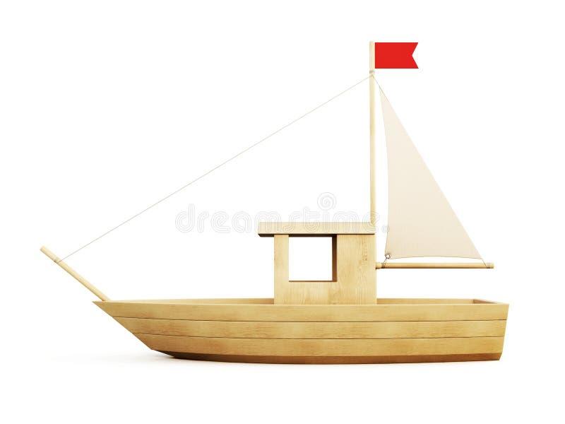 Vista laterale della barca a vela di legno 3d illustrazione di stock