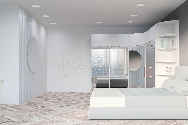 Vista laterale della camera da letto grigia con il guardaroba royalty illustrazione gratis