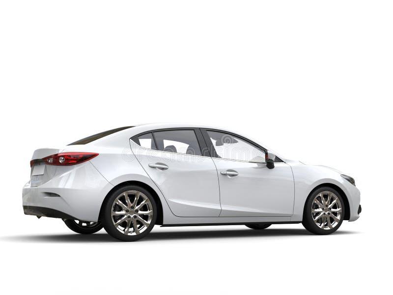 Vista laterale della chiara coda automobilistica veloce moderna bianca di affari immagine stock libera da diritti