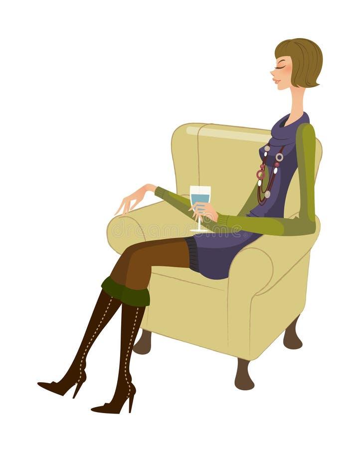 Download Vista laterale della donna illustrazione vettoriale. Illustrazione di godimento - 30828452