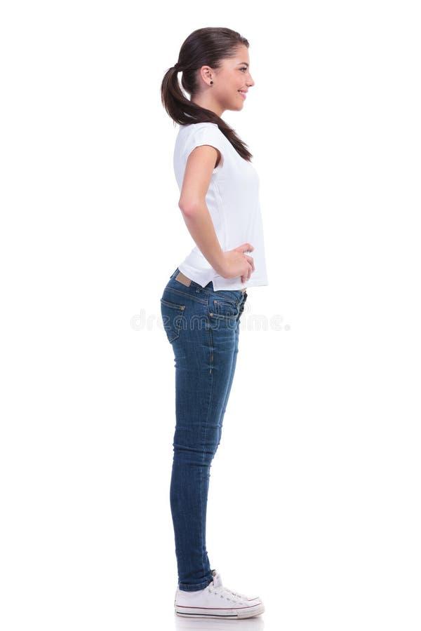 Vista laterale della donna casuale fotografie stock libere da diritti