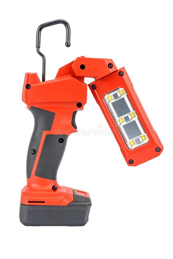 Vista laterale della luce di attività LED senza filo da 12V con testa flessibile e gancio retrattile per un'illuminazione in ross fotografia stock libera da diritti