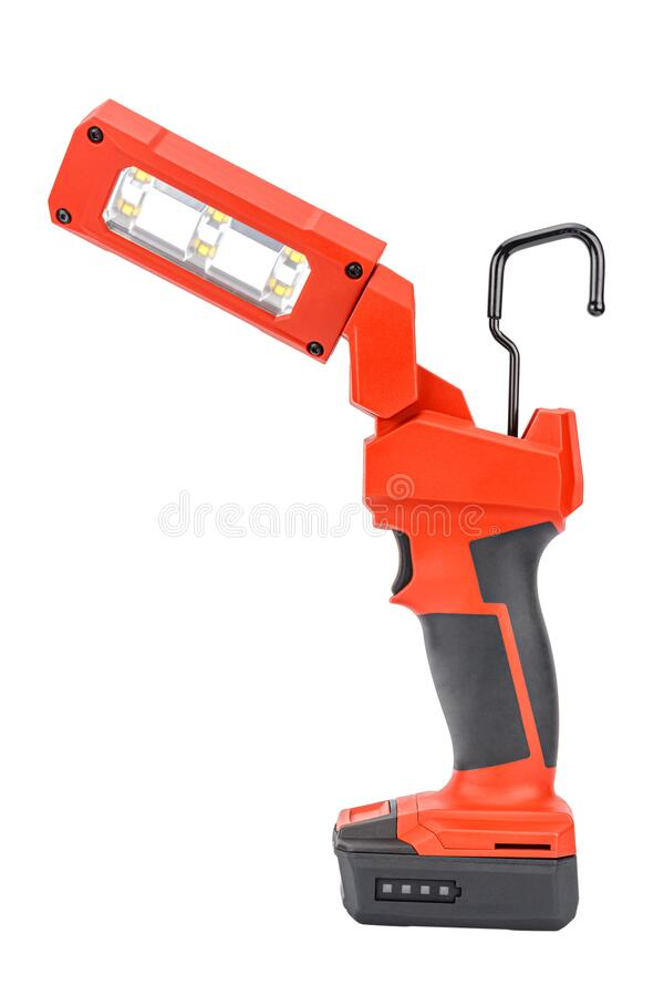 Vista laterale della luce di attività LED senza filo da 12V con testa flessibile e gancio retrattile per un'illuminazione in ross immagini stock libere da diritti
