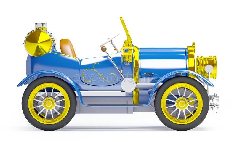 vista laterale della retro automobile blu 1910 illustrazione vettoriale