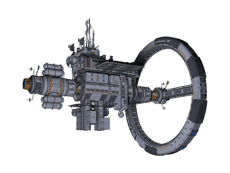 vista laterale della stazione spaziale 3D isolata royalty illustrazione gratis