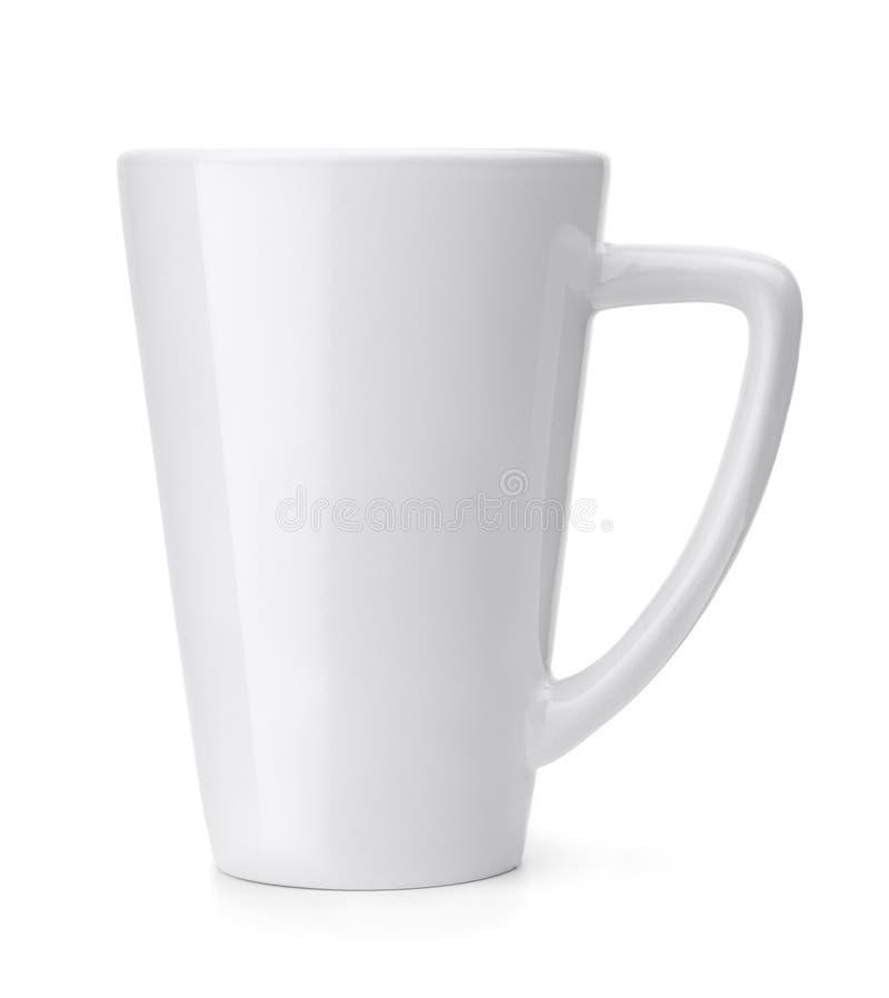 Vista laterale della tazza da caffè in bianco fotografia stock