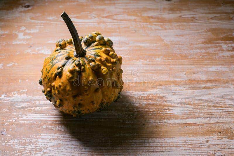 vista laterale della zucca arancione esposta sulla superficie di legno fotografia stock libera da diritti