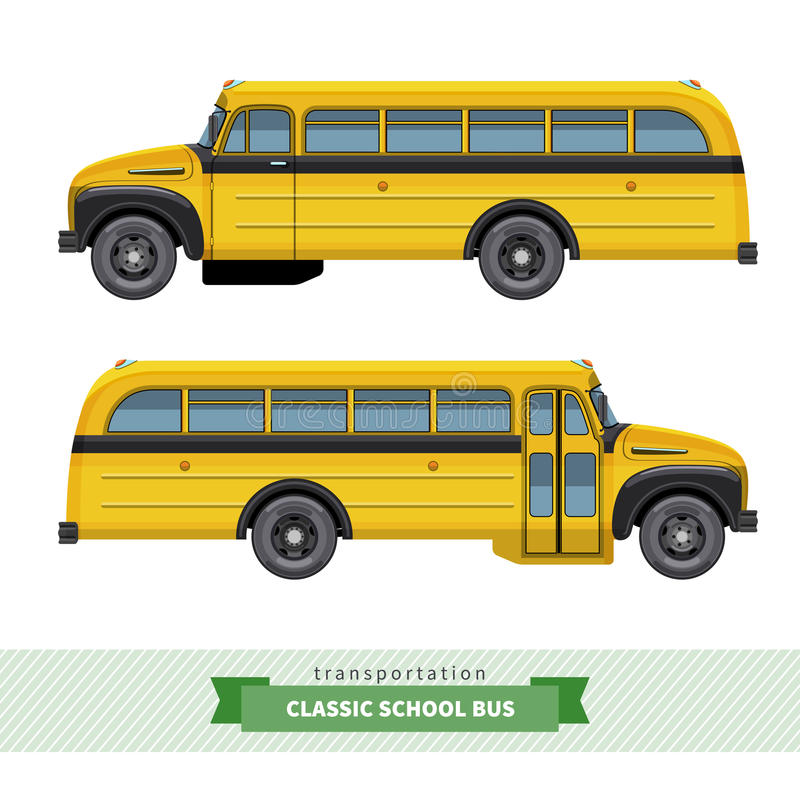 Vista laterale dello scuolabus classico illustrazione di stock