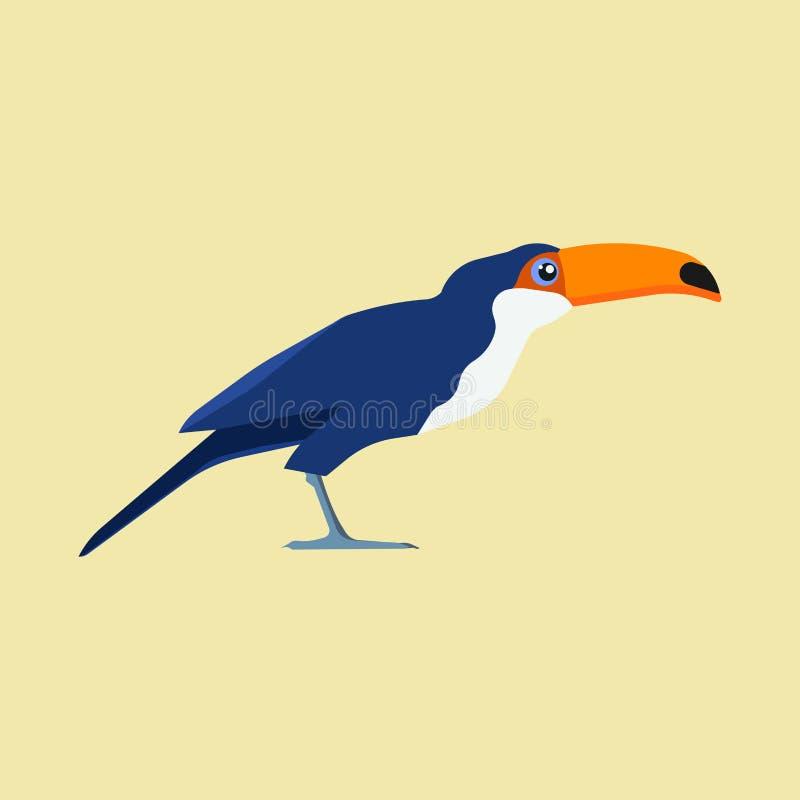 Vista laterale dello zoo dell'uccello del tucano dell'icona gialla di vettore Pappagallo selvaggio esotico di estate tropicale pi illustrazione di stock