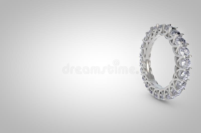 Vista laterale di Diamond Ring su fondo bianco immagini stock libere da diritti