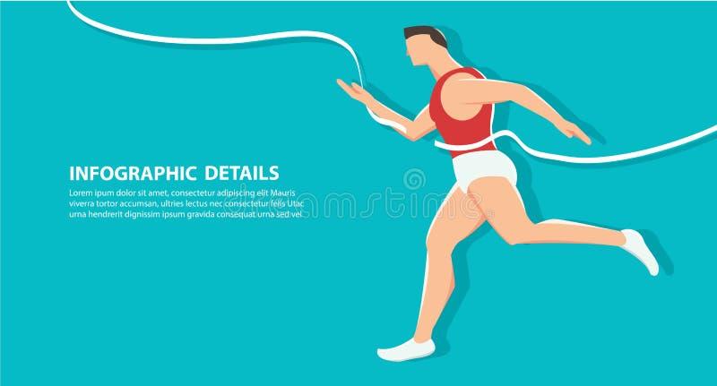 Vista laterale di eseguire fondo, illustrazione cosciente eps10 di vettore di concetto di salute illustrazione vettoriale
