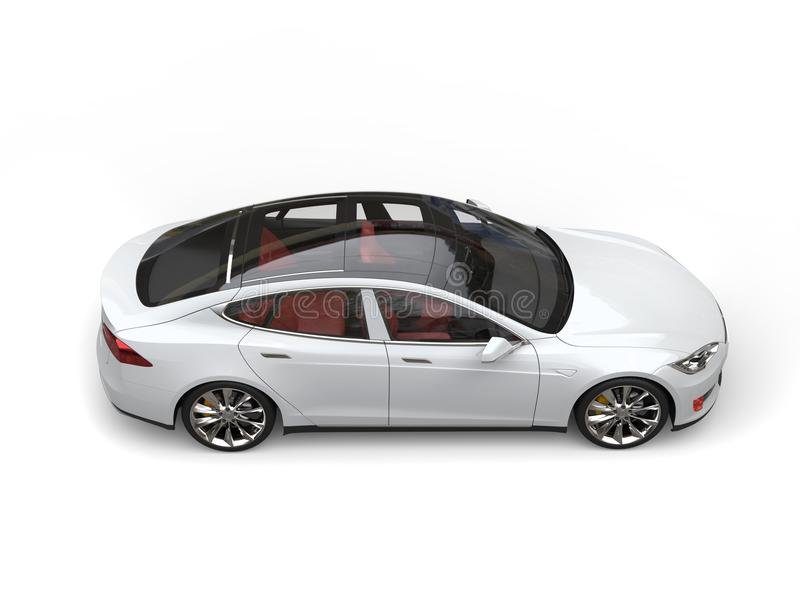 Vista laterale di lato dispari superiore automobilistica di sport elettrici moderni bianchi freschi illustrazione vettoriale