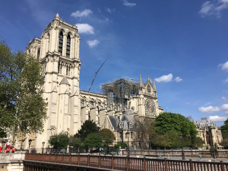Vista laterale di Notre Dame De Paris dopo l'incidente di fuoco immagini stock