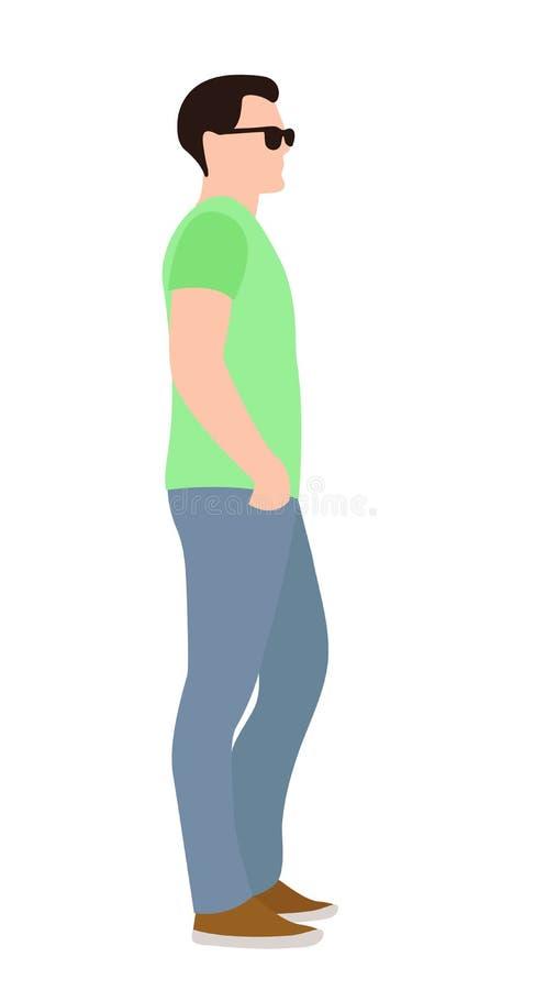 Vista laterale di un giovane casuale che sta con le sue mani sulle sul suoi anche e distogliere lo sguardo royalty illustrazione gratis