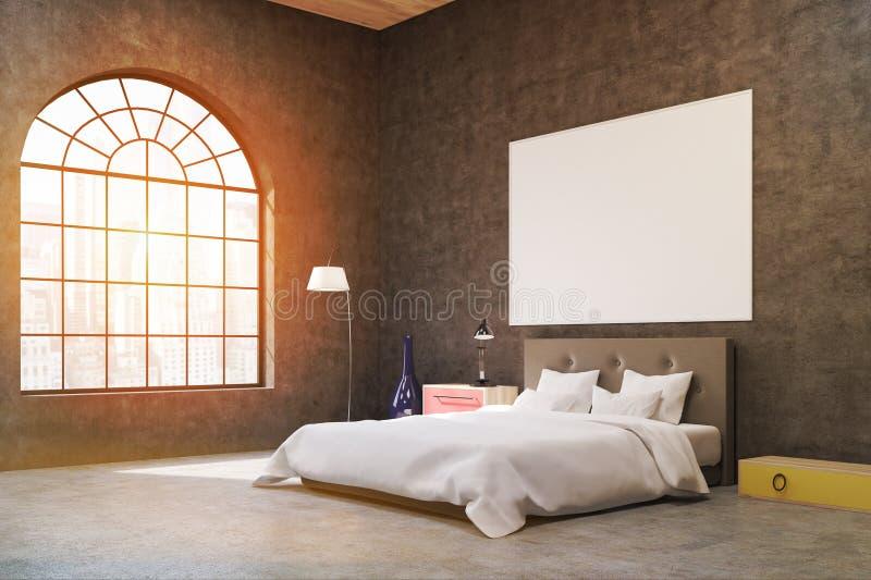 Vista laterale di una camera da letto con i mura di cemento scuri C'è una finestra a forma di arco illustrazione vettoriale