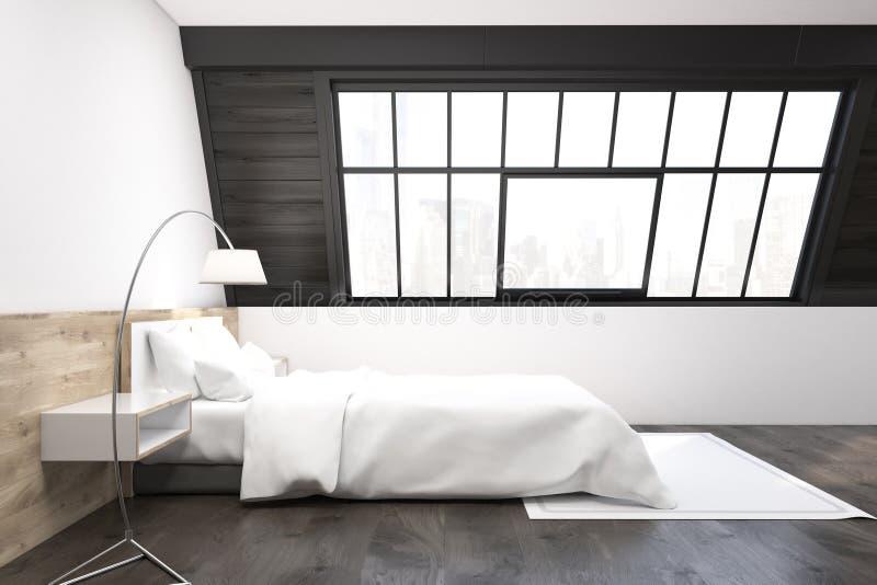 Vista laterale di una camera da letto della soffitta con un tappeto royalty illustrazione gratis