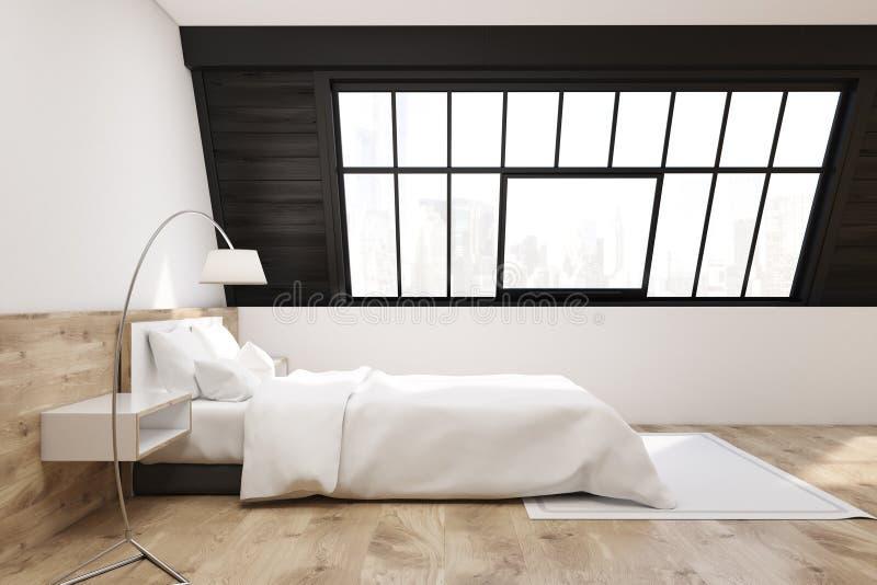 Vista laterale di una camera da letto della soffitta con un tappeto, luce illustrazione di stock