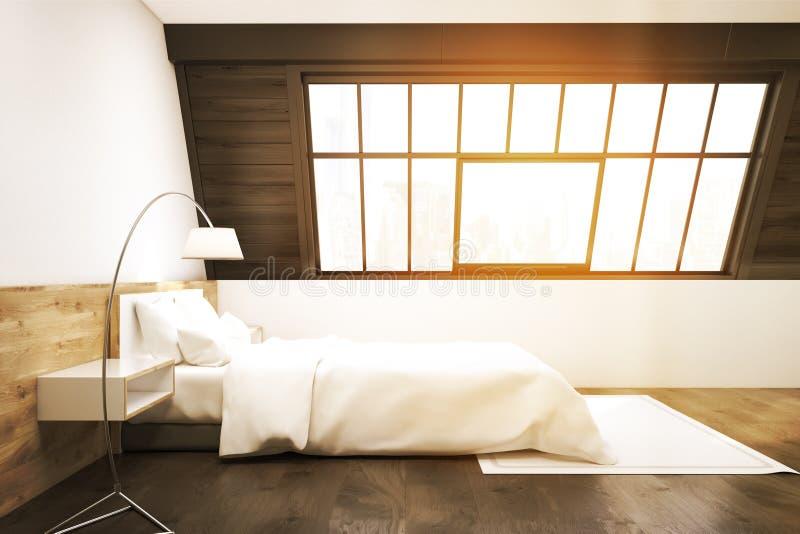 Vista laterale di una camera da letto della soffitta con un tappeto, tonificata illustrazione di stock